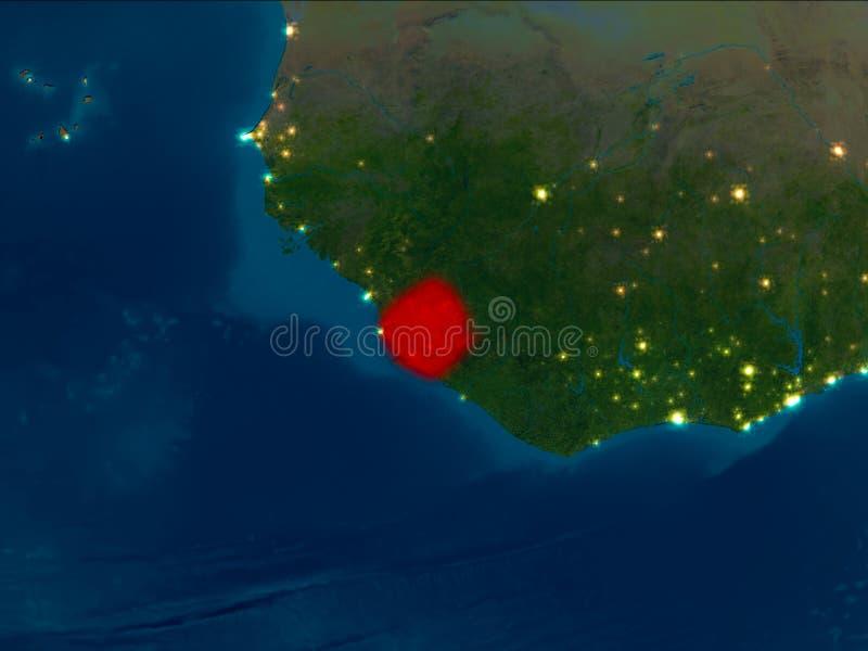 Sierra Leone in rood bij nacht stock fotografie
