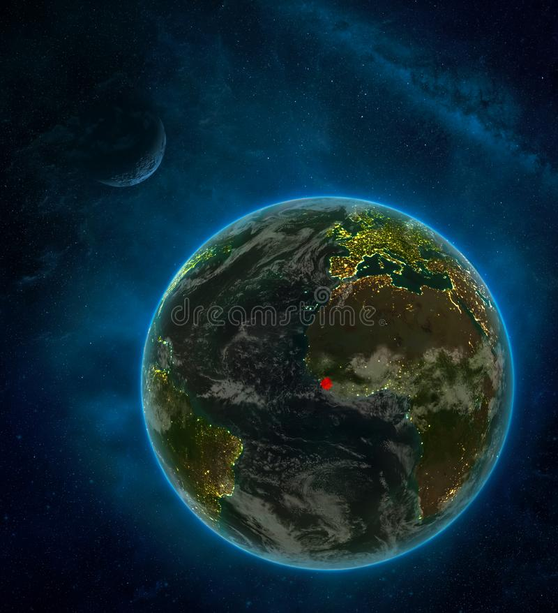 Sierra Leone from space on Earth at night surrounded by space with Moon and Milky Way. Detailed planet with city lights and clouds. 3D illustration. Elements royalty free illustration