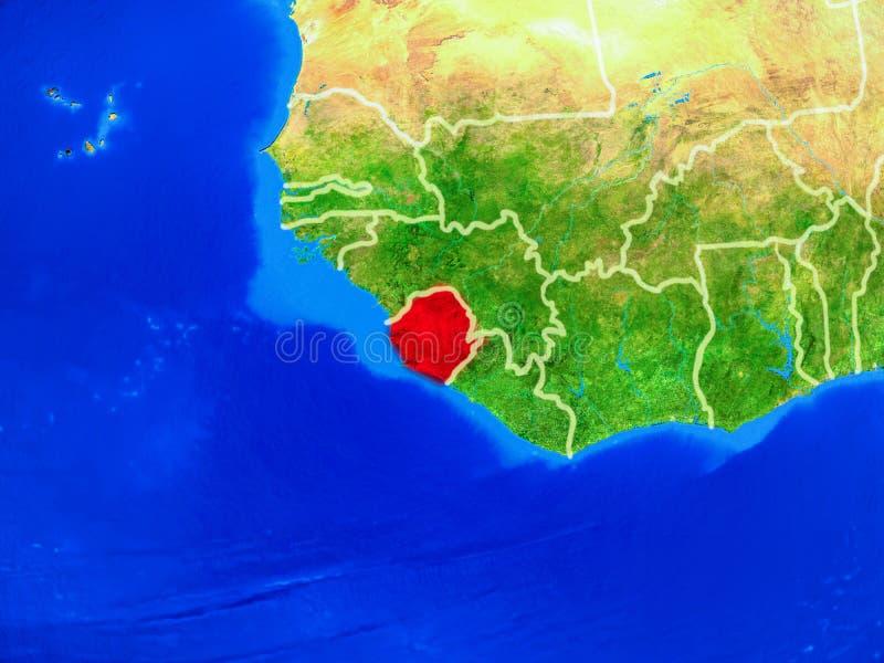 Sierra Leone ter wereld met grenzen royalty-vrije stock foto's