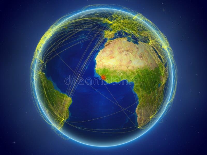 Sierra Leone ter wereld met netwerken royalty-vrije stock fotografie