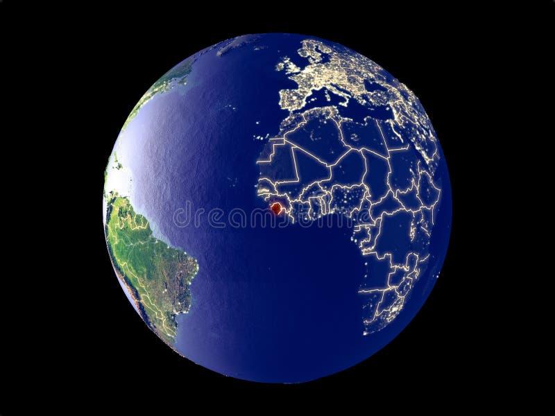 Sierra Leone ter wereld van ruimte stock foto's