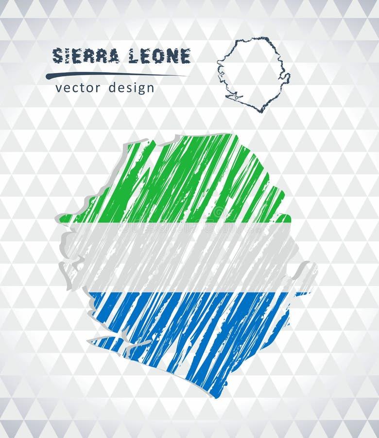 Sierra Leone wektorowa mapa z flaga inside odizolowywającym na białym tle Nakreślenie kredy ręka rysująca ilustracja royalty ilustracja