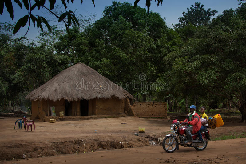 Sierra Leone, West Africa, the beaches of Yongoro. Yongoro, Sierra Leone - June 03, 2013: West Africa, the village of Yongoro in front of Freetown, a family royalty free stock image