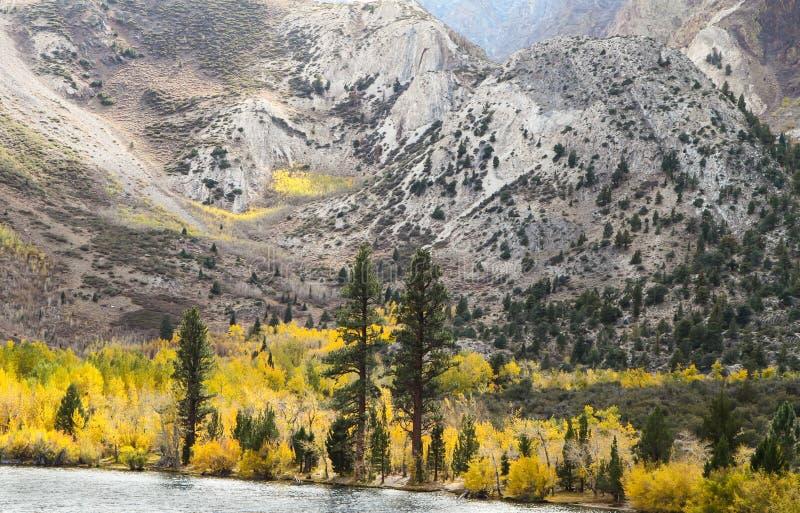 Sierra Mountainssee und Fall-Farben stockfotos