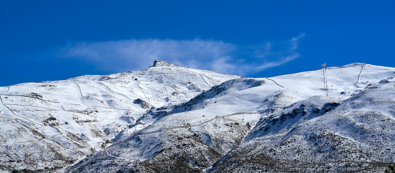Sierra Nevada mountain ski resort Granada. Sierra Nevada snow mountain ski resort in Granada of Spain stock photography