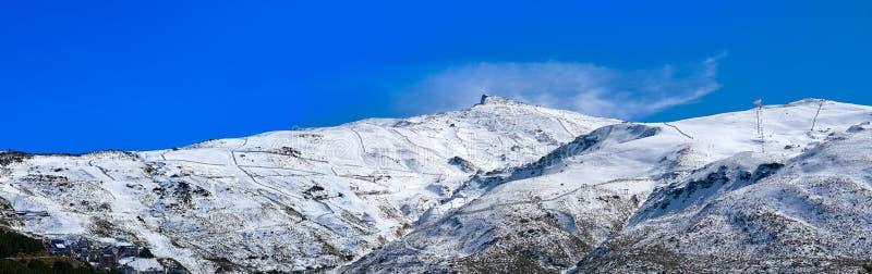 Sierra Nevada mountain ski resort Granada. Sierra Nevada snow mountain ski resort in Granada of Spain stock photos