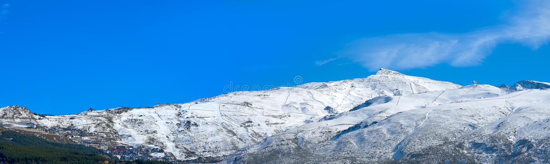 Sierra Nevada mountain ski resort Granada. Sierra Nevada snow mountain ski resort in Granada of Spain royalty free stock images