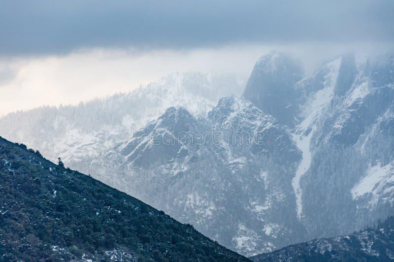 Sierra Nevada mountains in winter stock photos