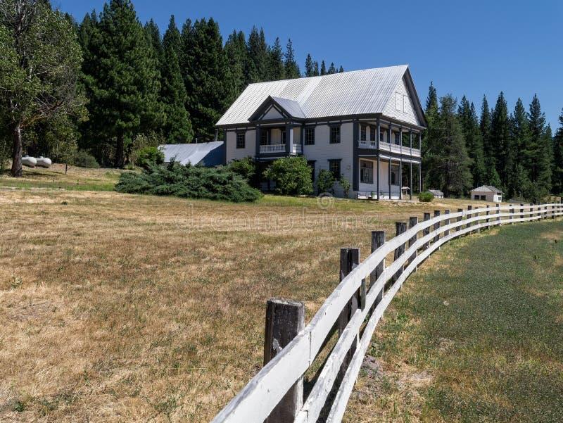 Sierra Nevada ranch home. White Sulphur Springs Ranch in the Northern Sierra Nevada Range, California stock photos