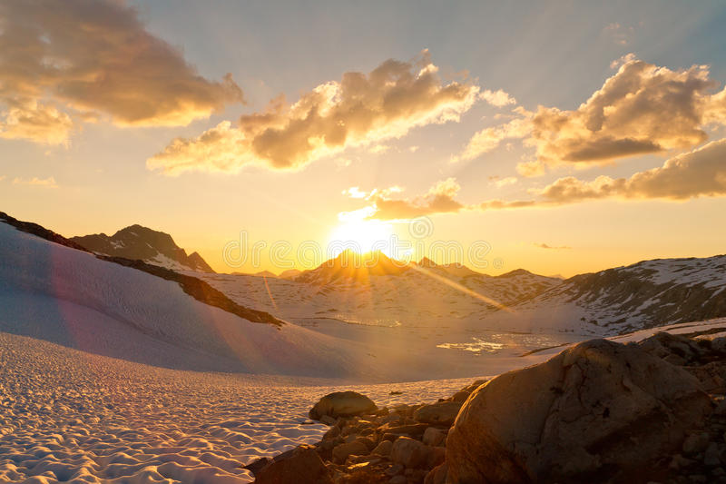 Sierra Nevada Sunset. At Muir Pass, California, USA stock photos