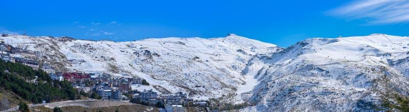 Sierra Nevada village ski resort Granada. Sierra Nevada village and snow ski resort in Granada of Spain stock image