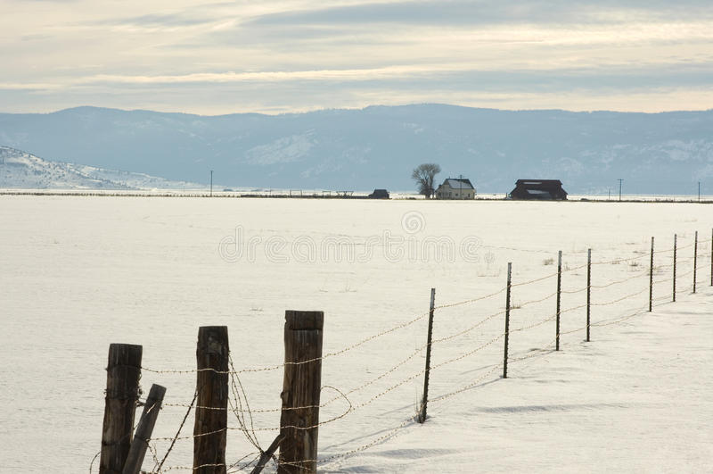 Sierra Valley ranch in Winter. Winter ranch scene in Sierra Valley California stock image