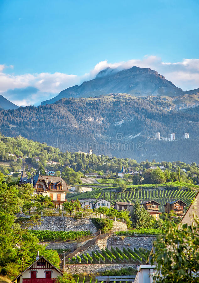 Sierre, Switzerland. Beautiful view of Sierre town and Swiss Alps, Switzerland stock image