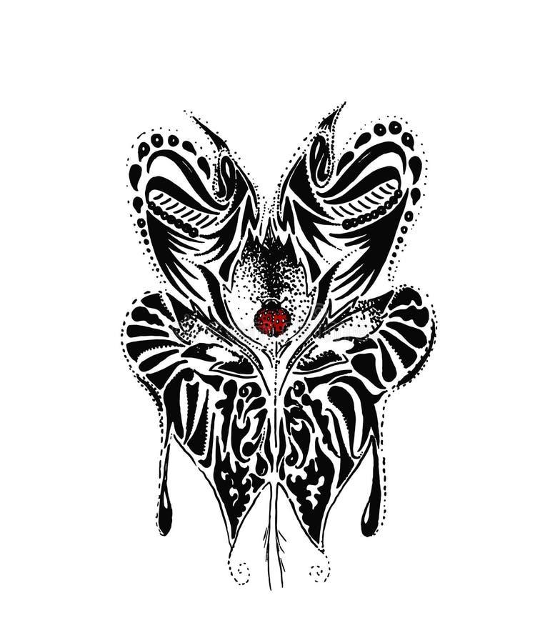 Siertekening van vlinder en lieveheersbeestje met de zwarte lijnen van de potloodschets royalty-vrije illustratie