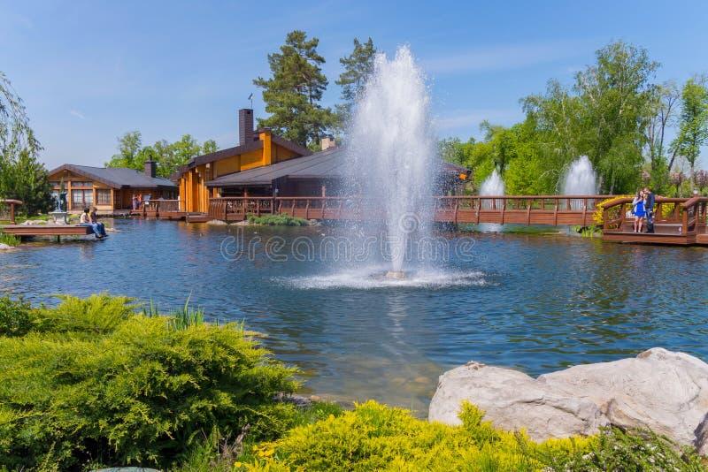 Siervijver of meer met fonteinen, houten die gebouwen voor recreatie en bruggen, door altijdgroene struiken worden omringd en stock foto's