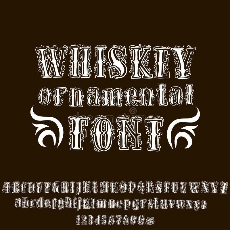 Sierwhiskydoopvont Hand getrokken letters en getallen in uitstekende stijl Vector illustratie vector illustratie