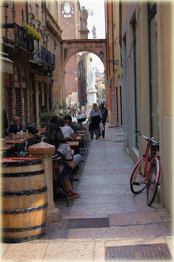 Siesta in a café in Verona stock images