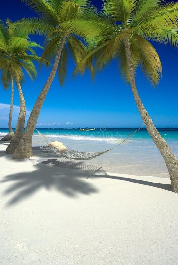 Siesta on tropical beach stock photo