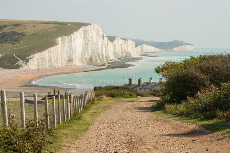 Siete acantilados de las hermanas en Sussex del este, Inglaterra foto de archivo
