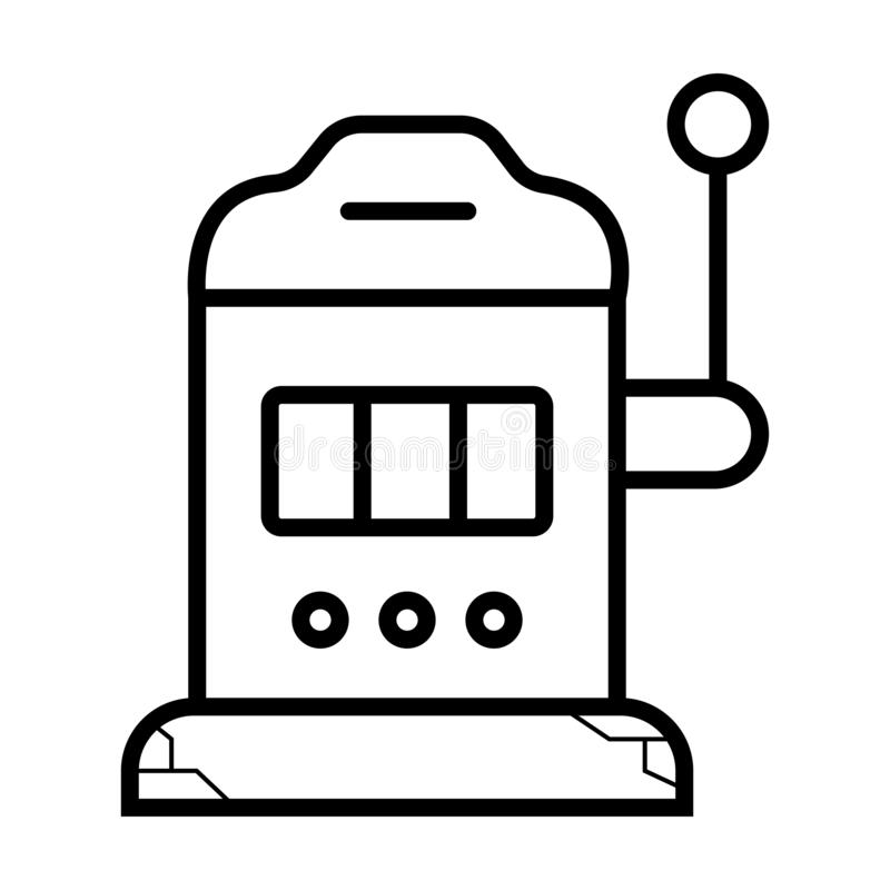 Siete afortunados en la máquina tragaperras Icono monocromático, negro del bote Vec libre illustration