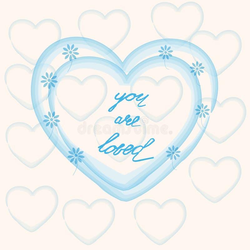 Siete amato, San Valentino dell'iscrizione della mano royalty illustrazione gratis