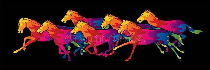 Siete caballos que corren el gráfico de la historieta ilustración del vector