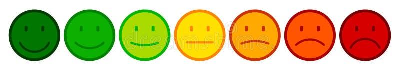 Siete colorearon smilies, fijaron la emoción sonriente, por los smilies, los emoticons de la historieta - vector ilustración del vector