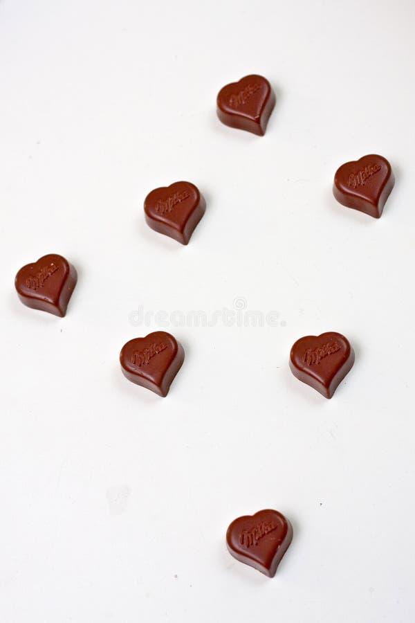 Siete corazones del chocolate imagen de archivo