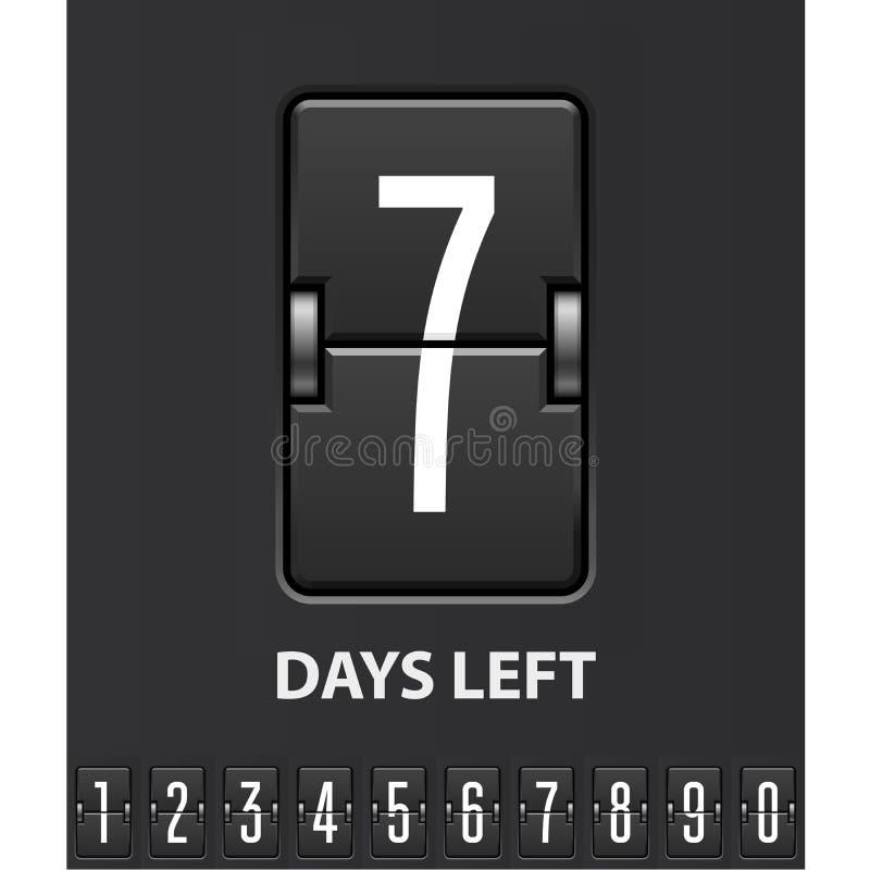 Siete días se fueron, marcador del tirón - contador de tiempo mecánico de la cuenta descendiente stock de ilustración