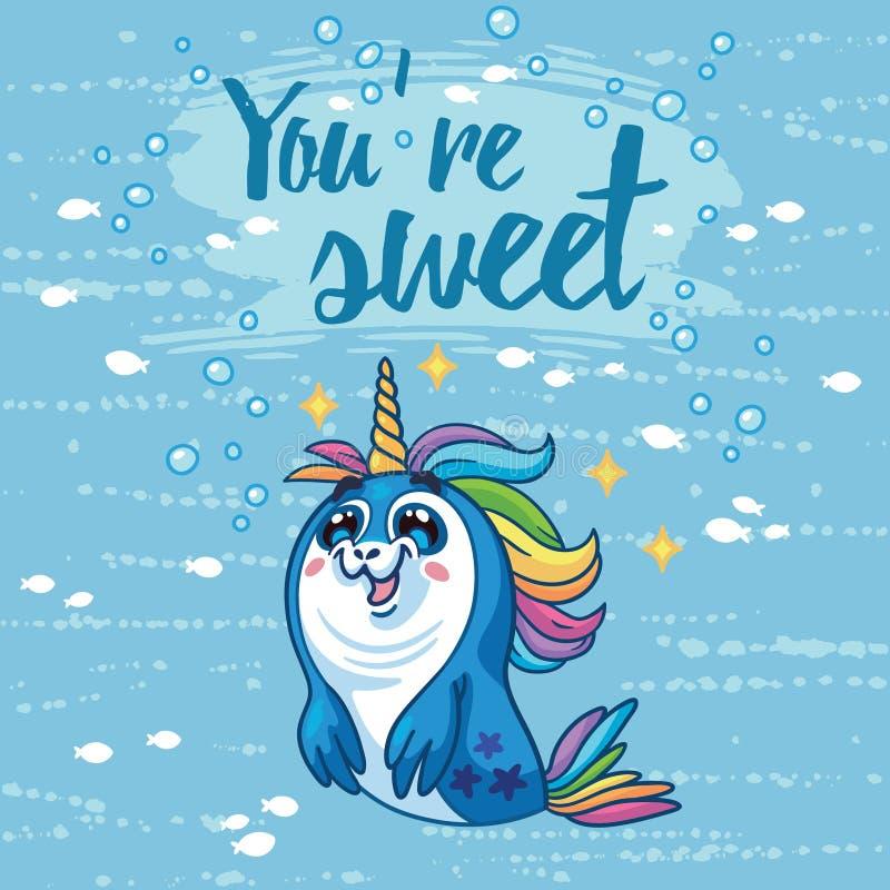 Siete illustrazione dolce Carta sveglia con il cucciolo di foca del fumetto illustrazione vettoriale