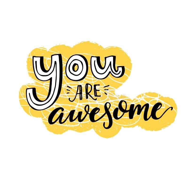 Siete impressionante Detto motivazionale, progettazione ispiratrice di citazione per le cartoline d'auguri Lettere nere su giallo royalty illustrazione gratis