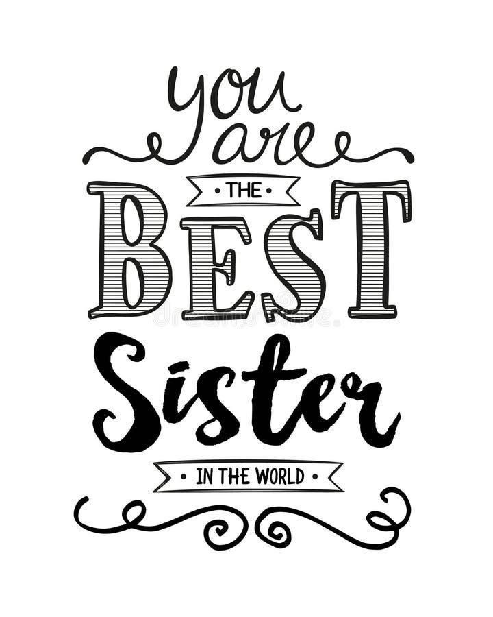 Siete la migliore sorella nel mondo illustrazione vettoriale