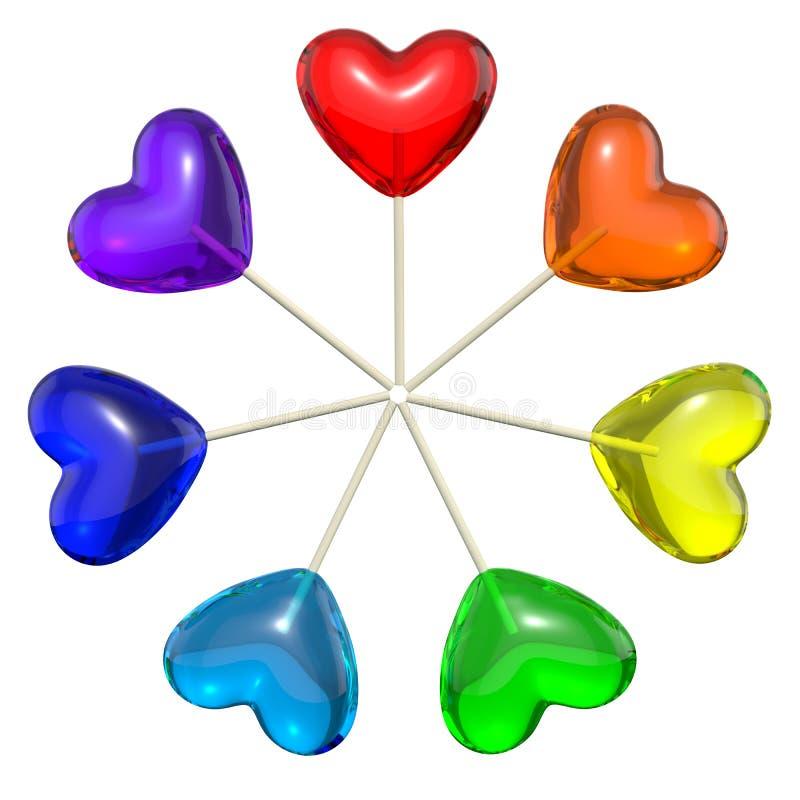 Siete lollipops en forma de corazón coloreados como arco iris stock de ilustración