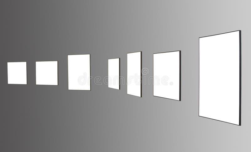 Siete marcos en la pared blanca fotos de archivo libres de regalías