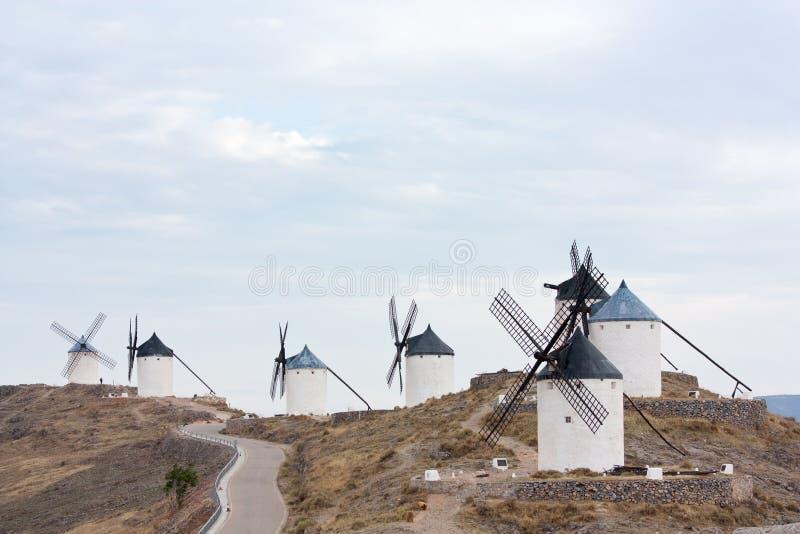 Siete molinoes de viento en Consuegra imágenes de archivo libres de regalías