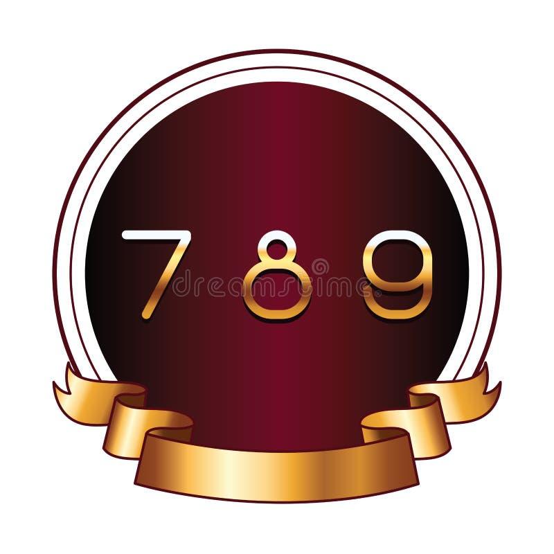 Siete ocho y nueve números en etiqueta redonda ilustración del vector