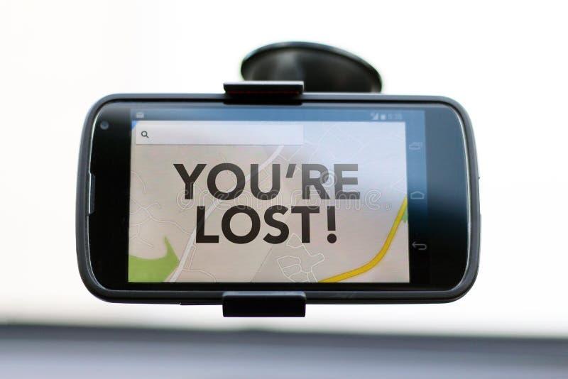 Siete tipo perso su uno Smart Phone di GPS immagine stock libera da diritti