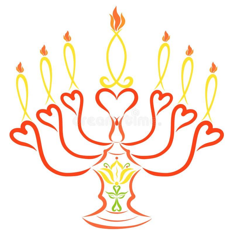 Siete velas simbólicas en una palmatoria con un lirio y una cruz libre illustration