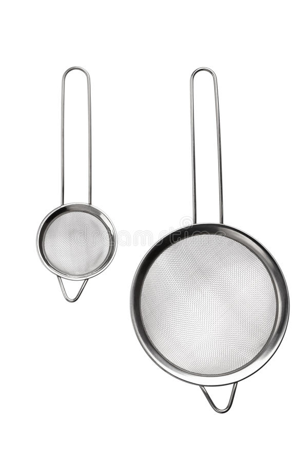 Sieve for bulk. Metal sieve for bulk, cooking utensils isolated on white royalty free stock image