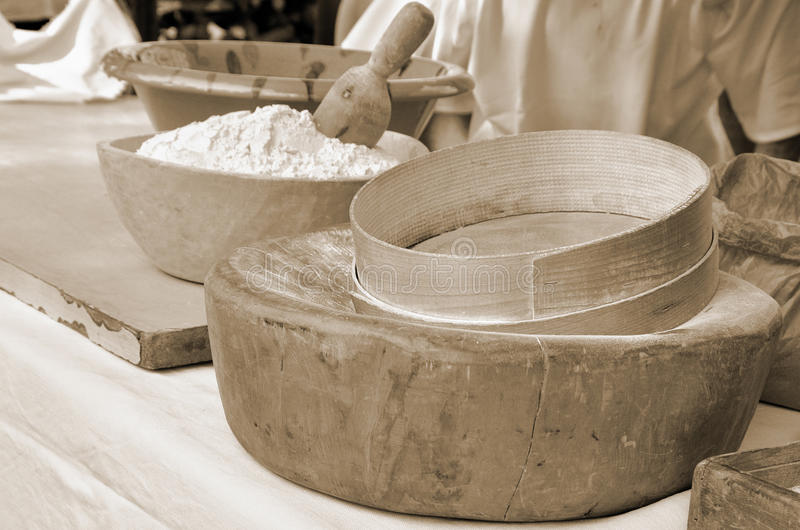 Sieve for flour. Old sieve for flour in italy royalty free stock image