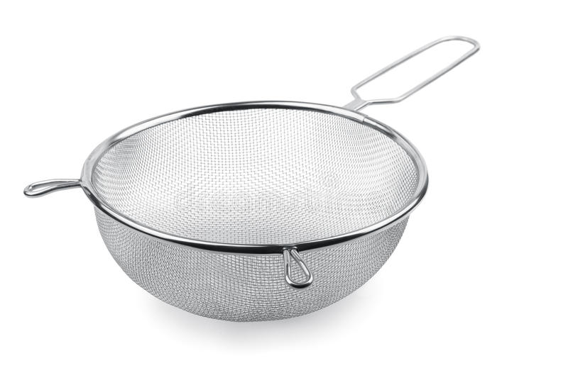 Sieve. Metal kitchen sieve isolated on white royalty free stock image