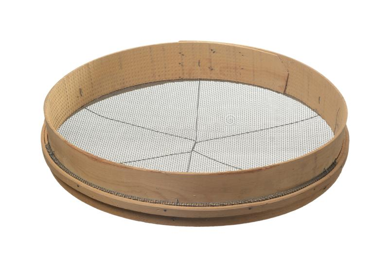 Sieve. On white background, work tool stock photography
