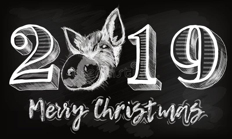 2019 siffer- bokstäver för texthand med svinet Torr borstetextureffekt lyckligt nytt år glad jul avläggande av examen Design vektor illustrationer