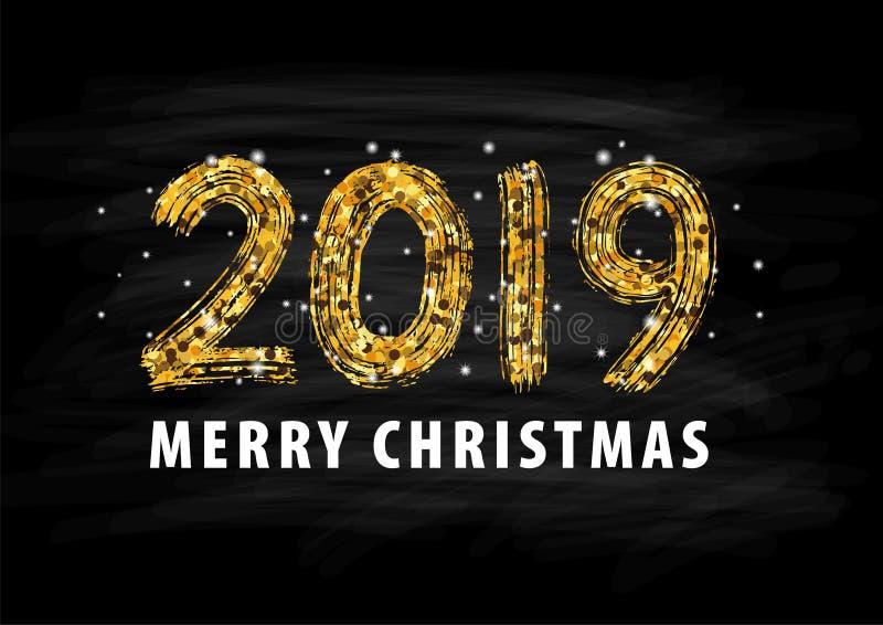 2019 siffer- handbokstäver lyckligt nytt år glad jul avläggande av examen också vektor för coreldrawillustration royaltyfri illustrationer