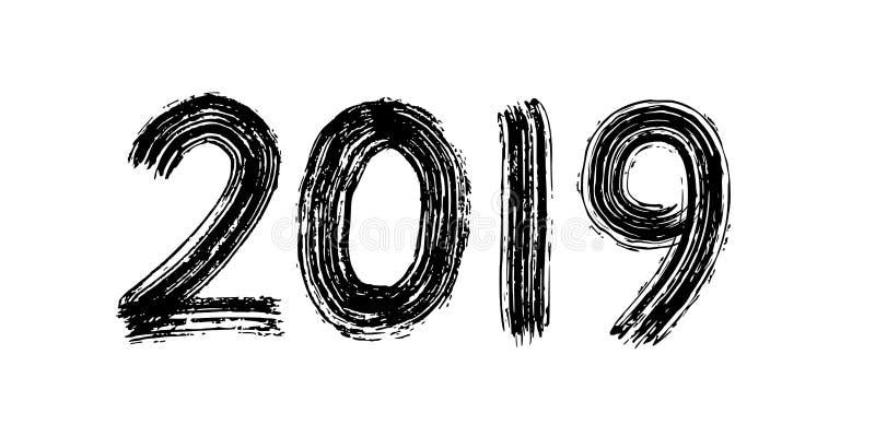 2019 siffer- handbokstäver Torr borstetextureffekt lyckligt nytt år glad jul avläggande av examen också vektor för coreldrawillus stock illustrationer
