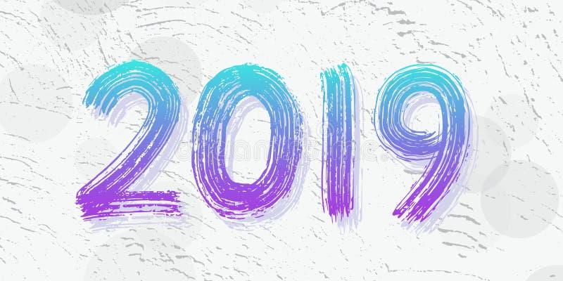 2019 siffer- handbokstäver Torr borstetextureffekt lyckligt nytt år glad jul avläggande av examen också vektor för coreldrawillus royaltyfri illustrationer