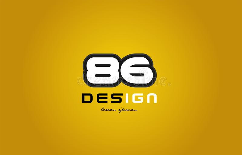 siffer- siffravit för 86 nummer på gul bakgrund royaltyfri illustrationer
