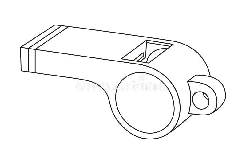Sifflement noir et blanc d'arbitre de schéma illustration de vecteur