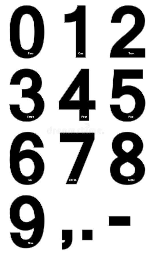 Siffror från noll till nio royaltyfri illustrationer