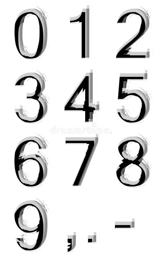 Siffror från noll till nio vektor illustrationer